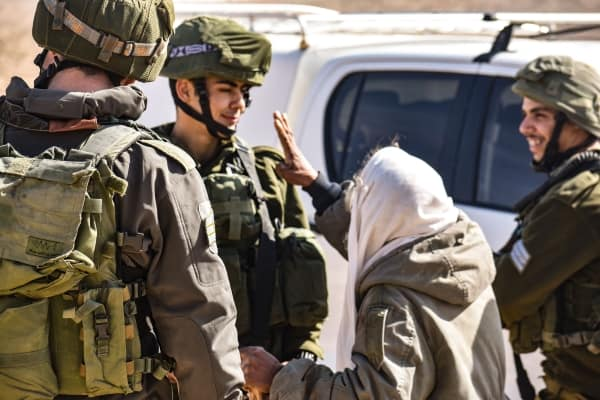 Hajj Suliman in Um al-Khair nonviolently protesting Israeli military violence.